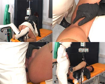 A horny assfuck in rubber on the gyntable