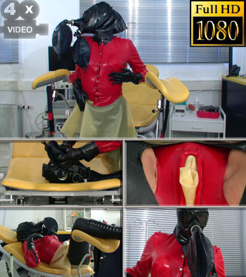 With rubberpussy and gasmask bizarre orgasm