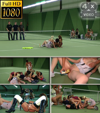 Perverted tennis match with seven girls