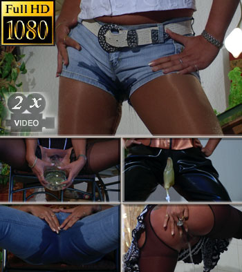 Pants and jeans pissing into horny