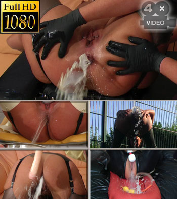 Asscunt burst with enema horny outdoor